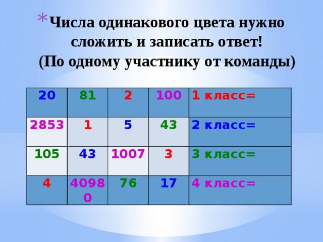 Числа одинакового цвета нужно сложить и записать ответ!  (По одному участнику от команды)