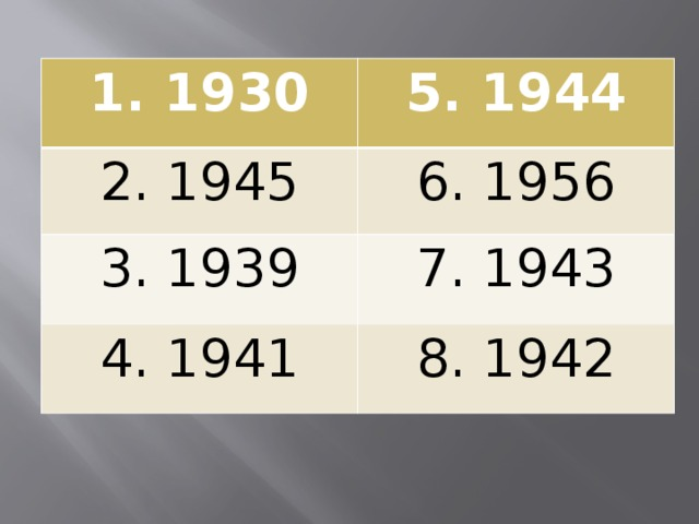 1. 1930 5. 1944 2. 1945 6. 1956 3. 1939 7. 1943 4. 1941 8. 1942