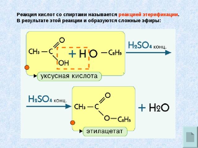 Реакция кислот со спиртами называется реакцией этерификации . В результате этой реакции и образуются сложные эфиры: