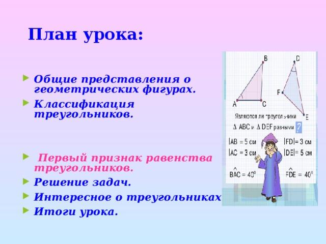 План урока: Общие представления о геометрических фигурах. Классификация треугольников.