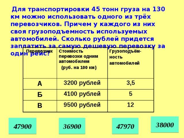 Для транспортировки 45 тонн груза на 130 км можно использовать одного из трёх перевозчиков. Причем у каждого из них своя грузоподъемность используемых автомобилей. Сколько рублей придется заплатить за самую дешевую перевозку за один рейс?  Перевозчик Стоимость перевозки одним автомобилем А  (руб. на 100 км) Грузоподъём- 3200 рублей Б ность 4100 рублей В 3,5 автомобилей 5 9500 рублей 12 38000 47970 47900 36900