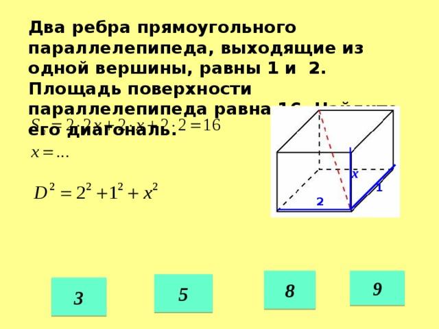 Два ребра прямоугольного параллелепипеда, выходящие из одной вершины, равны 1 и 2. Площадь поверхности параллелепипеда равна 16. Найдите его диагональ. х 1 2 8 9 5 3 39