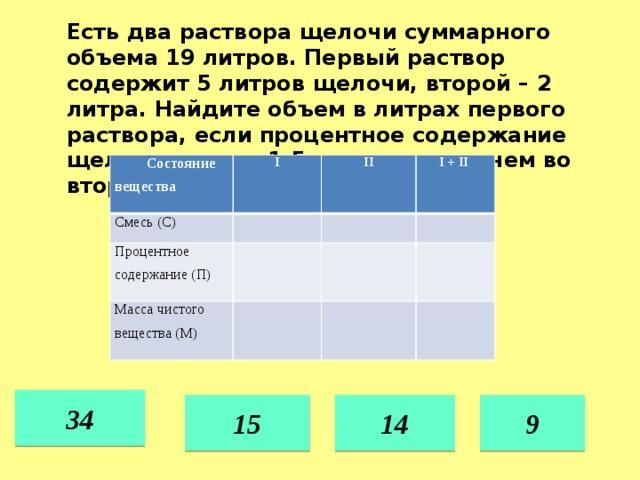 Есть два раствора щелочи суммарного объема 19 литров. Первый раствор содержит 5 литров щелочи, второй – 2 литра. Найдите объем в литрах первого раствора, если процентное содержание щелочи в нем в 1,5 раза меньше, чем во втором. Состояние вещества I Смесь (С) II Процентное содержание (П) I + II Масса чистого вещества (М) 34 15 14 9