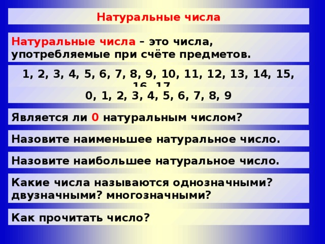 Натуральные числа Натуральные числа Натуральные числа – это числа, употребляемые при счёте предметов. 1, 2, 3, 4, 5, 6, 7, 8, 9, 10, 11, 12, 13, 14, 15, 16, 17 … 0, 1, 2, 3, 4, 5, 6, 7, 8, 9 Является ли 0 натуральным числом? Назовите наименьшее натуральное число. Назовите наибольшее натуральное число. Какие числа называются однозначными? двузначными? многозначными? Как прочитать число?