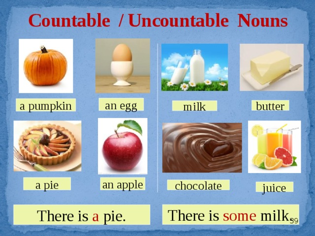Countable / Uncountable Nouns an egg a pumpkin butter milk an apple a pie chocolate juice There is some milk. There is a pie.