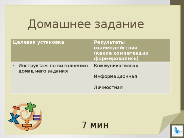 Домашнее задание Целевая установка Результаты взаимодействия Инструктаж по выполнению домашнего задания (какие компетенции формировались) Коммуникативная Информационная Личностная 7 мин