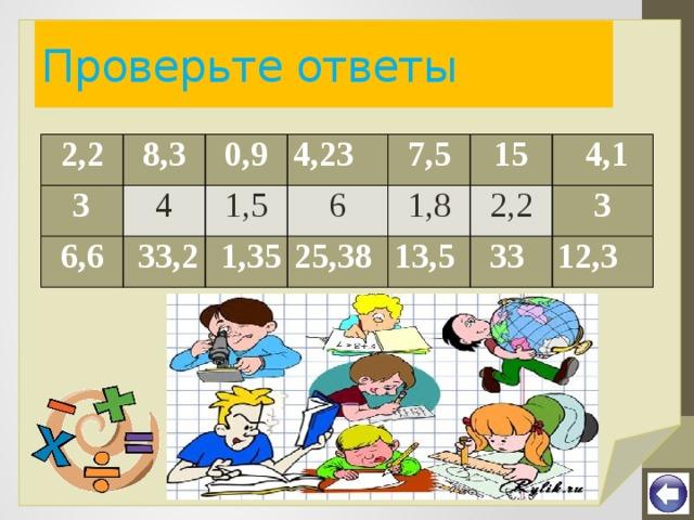 Проверьте ответы 2,2 8,3  3 6,6 0,9 4 4,23  33,2 1,5 7,5 6  1,35 15 25,38 1,8 2,2  4,1 13,5 33 3 12,3
