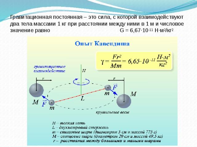 Гравитационная постоянная – это сила, с которой взаимодействуют два тела массами 1 кг при расстоянии между ними в 1 м и числовое значение равно G = 6,67∙10 -11 Н∙м 2 /кг 2