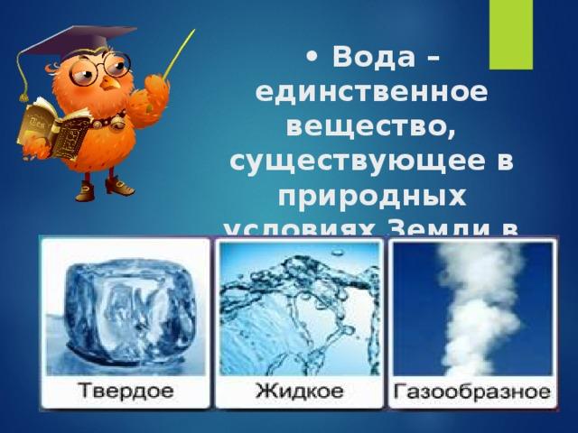 •  Вода – единственное вещество, существующее в природных условиях Земли в трёх агрегатных состояниях: лёд, вода и пар.