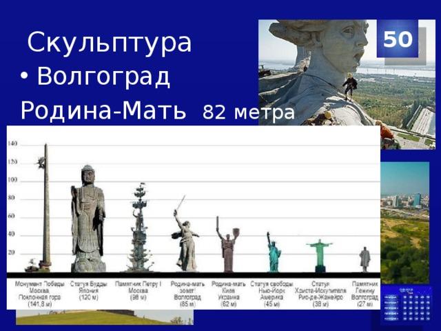 Скульптура 50 Волгоград Родина-Мать 82 метра  автор Евгений Викторович Вучетич