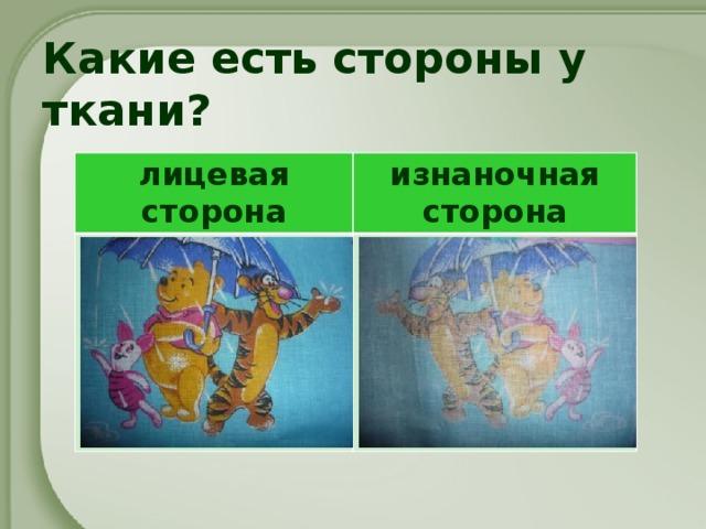Какие есть стороны у ткани? лицевая сторона изнаночная сторона
