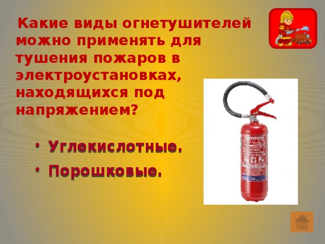 Какие виды огнетушителей можно применять для тушения пожаров в электроустановках, находящихся под напряжением?