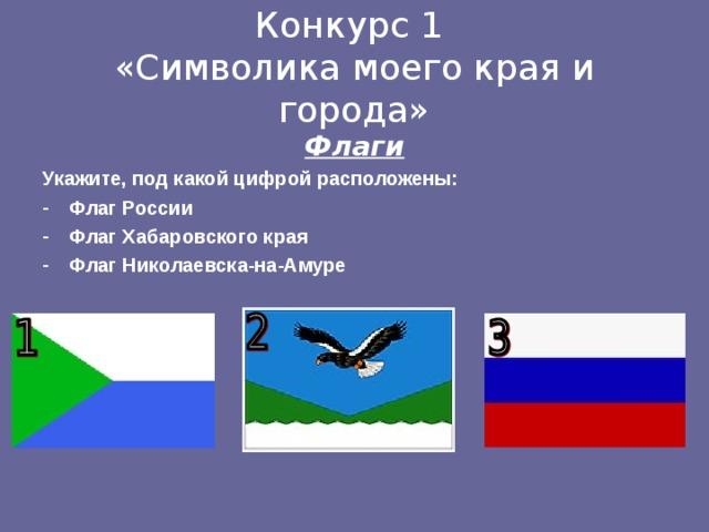 Конкурс 1  «Символика моего края и города» Флаги Укажите, под какой цифрой расположены: