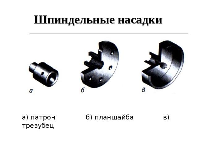 Шпиндельные насадки а) патрон  б) планшайба   в) трезубец