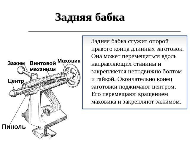 Задняя бабка  Задняя бабка служит опорой правого конца длинных заготовок. Она может перемещаться вдоль направляющих станины и закрепляется неподвижно болтом и гайкой. Окончательно конец заготовки поджимают центром. Его перемещают вращением маховика и закрепляют зажимом. Пиноль