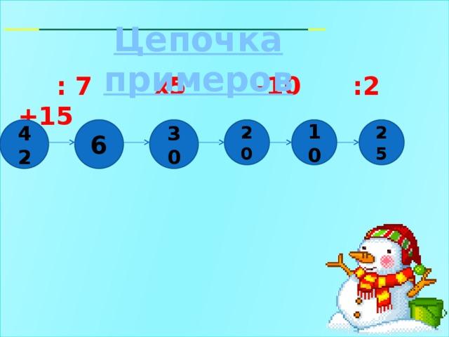 : 7 х5 -10 :2 +15  Цепочка примеров 25 10 20 30 6 42