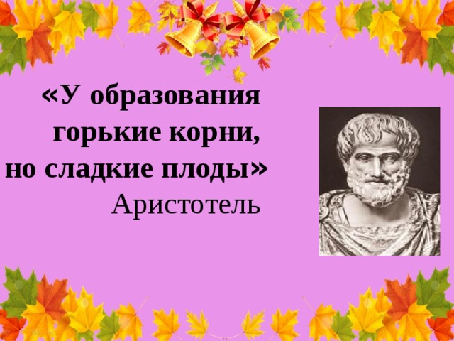 « У образования горькие корни, но сладкие плоды »  Аристотель