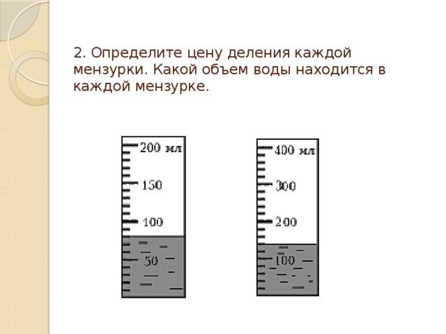 2. Определите цену деления каждой мензурки. Какой объем воды находится в каждой мензурке.