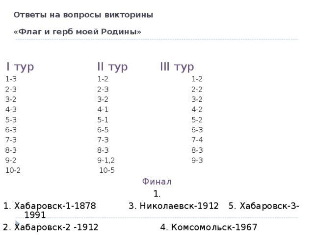 Ответы на вопросы викторины  «Флаг и герб моей Родины»   I тур    II тур   III тур  1-3     1-2    1-2  2-3     2-3    2-2  3-2     3-2    3-2  4-3     4-1    4-2  5-3     5-1    5-2  6-3     6-5    6-3  7-3     7-3    7-4  8-3     8-3    8-3  9-2     9-1,2    9-3  10-2    10-5  Финал 1. 1. Хабаровск-1-1878   3. Николаевск-1912  5. Хабаровск-3-1991 2. Хабаровск-2 -1912   4. Комсомольск-1967