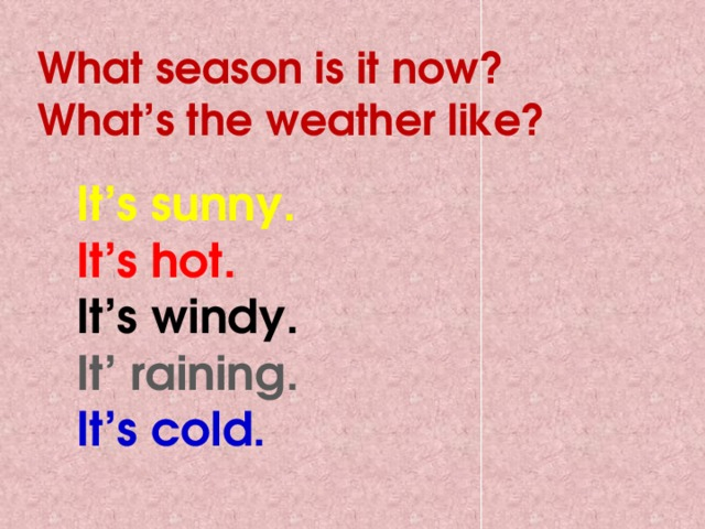 What season is it now? What's the weather like? It's sunny. It's hot. It's windy. It' raining. It's cold.