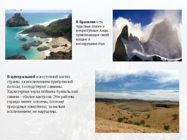 В Бразилии есть чудесные  пляжи и неприступные Анды, привлекающие своей мощью и несокрушимостью. В центральной и восточной частях страны, за исключением прибрежной полосы, господствуют саванны. Характерная черта пейзажа бразильских саванн - обилие кактусов. Эти районы гораздо менее освоены, поэтому природные комплексы, за малым исключением, не нарушены.