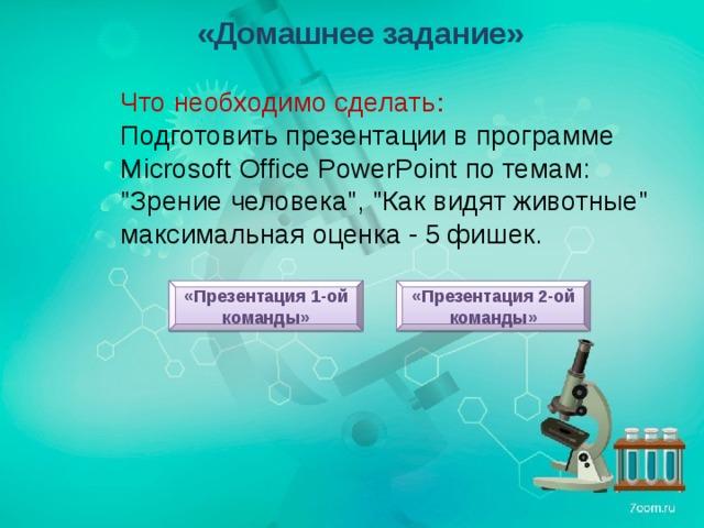 «Домашнее задание» Что необходимо сделать : Подготовить презентации в программе Microsoft Office PowerPoint по темам: