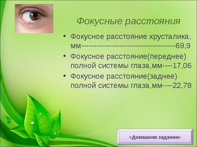 Фокусные расстояния Фокусное расстояние хрусталика, мм-------------------------------------69,9 Фокусное расстояние(переднее) полной системы глаза,мм----17,06 Фокусное расстояние(заднее) полной системы глаза,мм----22,78 «Домашнее задание»