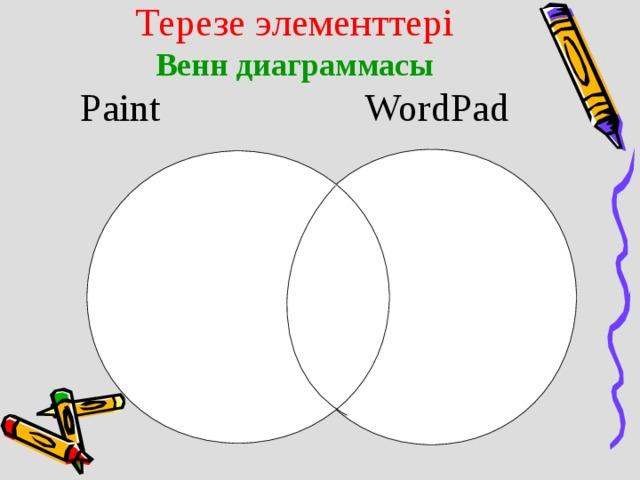 Терезе элементтері  Венн диаграммасы  Paint    WordPad