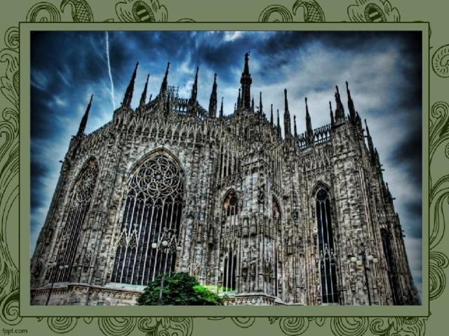 Готический собор при всем богатстве составляющих его элементов поражает необычайным единством как архитектурного плана, так и всей системы декора (экстерьера и интерьера). Более того, это единство характеризует готический стиль в целом. Грандиозность и величественность архитектурного образа католического собора звучит особенно возвышенно в светлом, взлетающем пространстве интерьера . Мощным потоком вверх устремляются все элементы декора: тонкие, изящные столбы, колонны, стрельчатые арки. Огромные ажурные окна с цветными стеклами — витражами — делают прозрачной и легкой преграду между интерьером собора и внешним миром. Льющийся через стекла витражей цветной таинственный свет , создавая в храме необычную цветовую среду, отличную от внешнего мира, символизирует свет христианского познания.