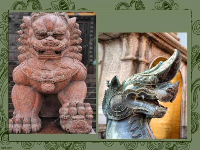 Очень оригинально смотрится магическая охрана буддийских храмов, застывшая в камне. В углах крыши скалятся каменные мифические чудовища, которые символизируют злые силы, которые удерживаются на расстоянии от храмов.
