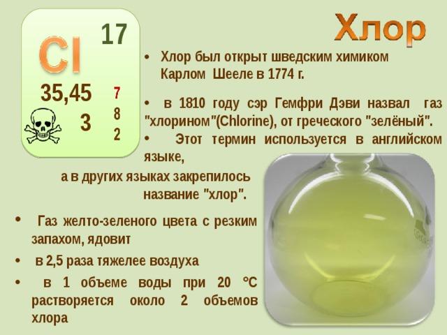 17 Хлор был открыт шведским химиком Карлом Шееле в 1774 г. 35,453  в 1810 году сэр Гемфри Дэви назвал газ