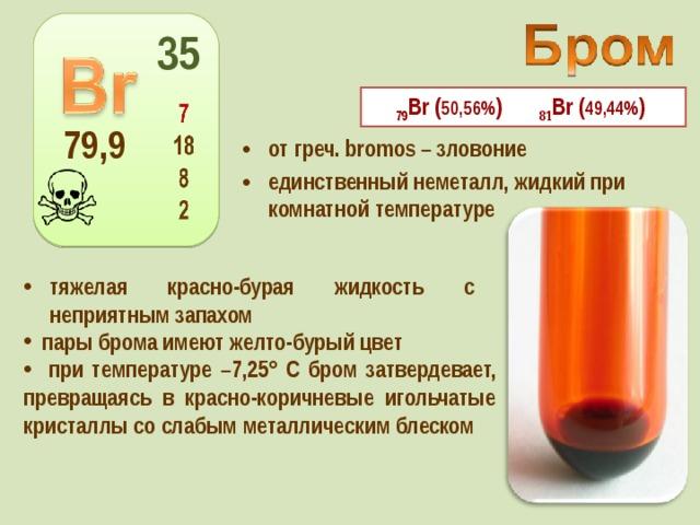 35 79 Вr ( 50,56% ) 81 Вr ( 49,44% ) 79,9