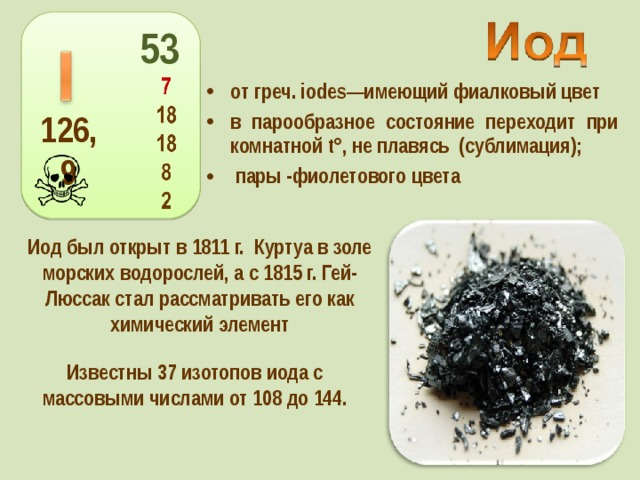 53 от греч. iodes—имеющий фиалковый цвет в парообразное состояние переходит при комнатной t°, не плавясь (сублимация);  пары -фиолетового цвета 126,9 Иод был открыт в 1811г. Куртуа в золе морских водорослей, а с 1815г. Гей-Люссак стал рассматривать его как химический элемент Известны 37 изотопов иода с массовыми числами от 108 до 144.