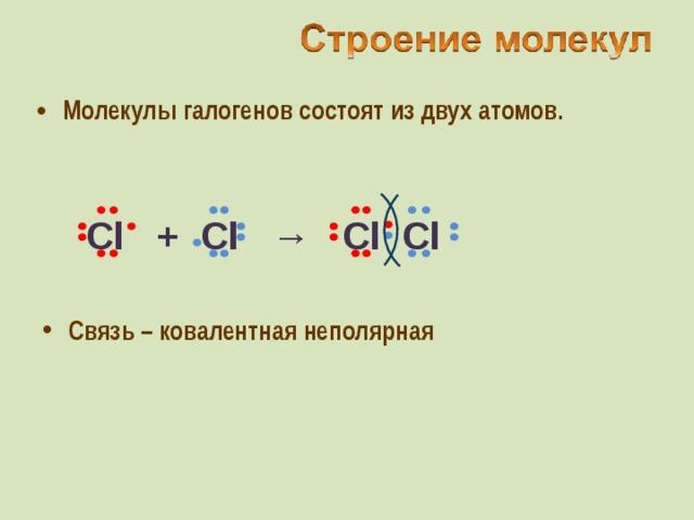 Молекулы галогенов состоят из двух атомов. Cl  +  Cl  →  Cl Cl Связь – ковалентная неполярная