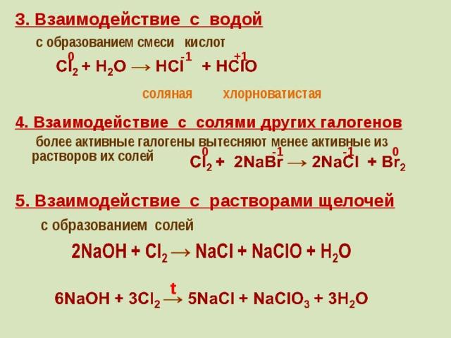 3. Взаимодействие с водой  с образованием смеси кислот -1 0 +1 хлорноватистая соляная 4. Взаимодействие с солями других галогенов  более активные галогены вытесняют менее активные из растворов их солей 0 -1 -1 0 5. Взаимодействие с растворами щелочей  с образованием солей t