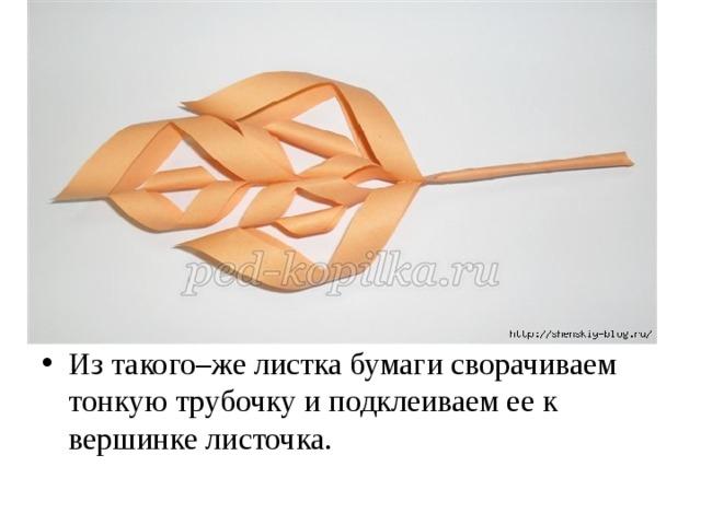Из такого–же листка бумаги сворачиваем тонкую трубочку и подклеиваем ее к вершинке листочка.