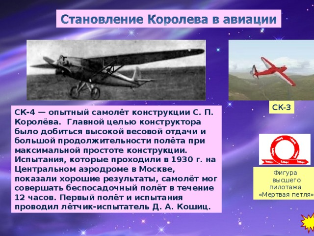 СК-3 СК-4 — опытный самолёт конструкции С. П. Королёва. Главной целью конструктора было добиться высокой весовой отдачи и большой продолжительности полёта при максимальной простоте конструкции. Испытания, которые проходили в 1930 г. на Центральном аэродроме в Москве, показали хорошие результаты, самолёт мог совершать беспосадочный полёт в течение 12 часов. Первый полёт и испытания проводил лётчик-испытатель Д. А. Кошиц. Фигура высшего пилотажа «Мертвая петля»