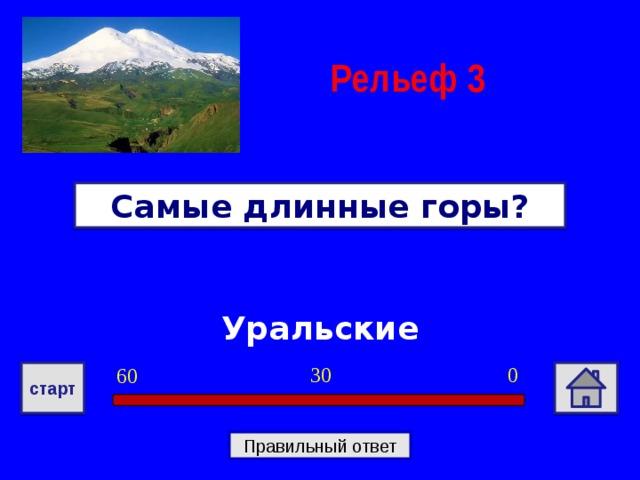 Рельеф  3 Самые длинные горы? Уральские 0 30 60 старт Правильный ответ