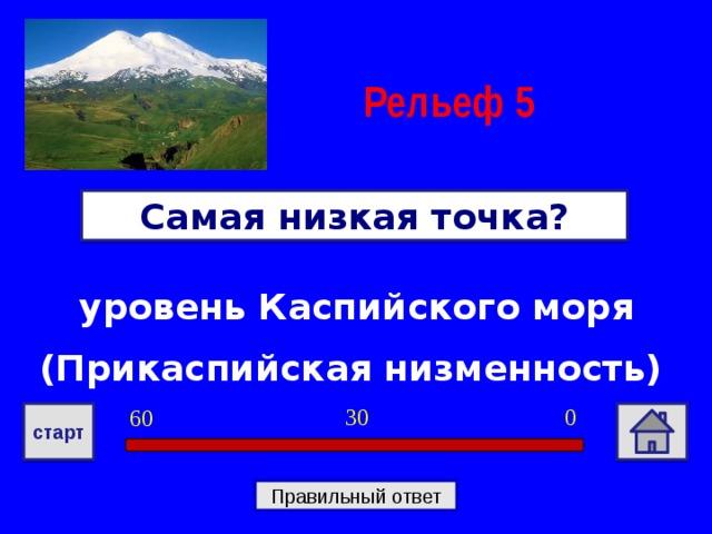 Рельеф  5 Самая низкая точка? уровень Каспийского моря (Прикаспийская низменность) 0 30 60 старт Правильный ответ