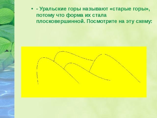 - Уральские горы называют «старые горы», потому что форма их стала плосковершинной. Посмотрите на эту схему: