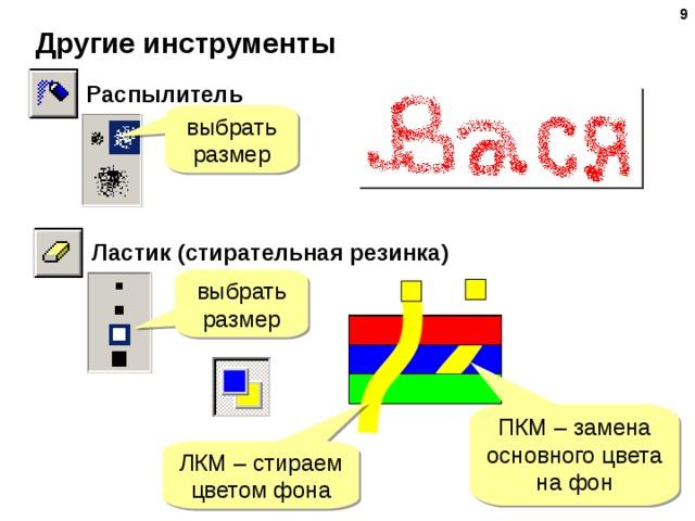 Другие инструменты Распылитель выбрать размер Ластик (стирательная резинка) выбрать размер ПКМ – замена основного цвета на фон ЛКМ – стираем цветом фона