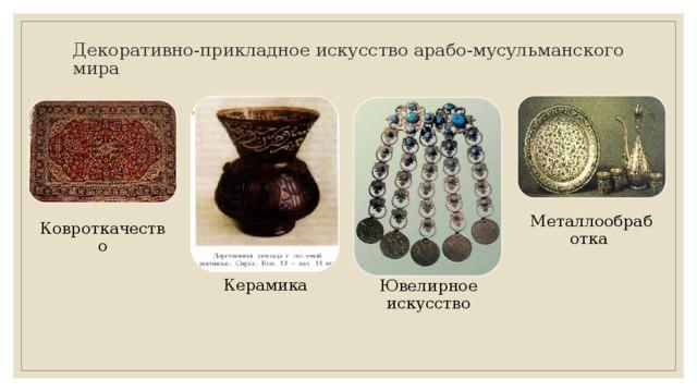 Декоративно-прикладное искусство арабо-мусульманского мира Металлообработка Ковроткачество Керамика Ювелирное искусство