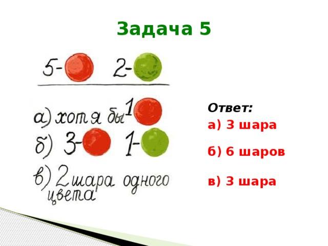 Задача 5 Ответ: а)  3 шара    б)  6 шаров в)  3 шара
