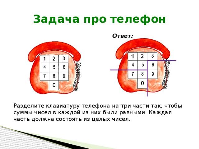 Задача про телефон Ответ: Разделите клавиатуру телефона на три части так, чтобы суммы чисел в каждой из них были равными. Каждая часть должна состоять из целых чисел.