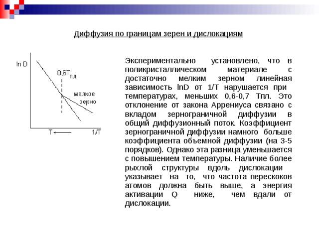 Диффузия по границам зерен и дислокациям Экспериментально установлено, что в поликристаллическом материале с достаточно мелким зерном линейная зависимость lnD от 1/Т нарушается при температурах, меньших 0,6-0,7 Тпл. Это отклонение от закона Аррениуса связано с вкладом зернограничной диффузии в общий диффузионный поток. Коэффициент зернограничной диффузии намного больше коэффициента объемной диффузии (на 3-5 порядков). Однако эта разница уменьшается с повышением температуры. Наличие более рыхлой структуры вдоль дислокации указывает на то, что частота перескоков атомов должна быть выше, а энергия активации Q ниже, чем вдали от дислокации.