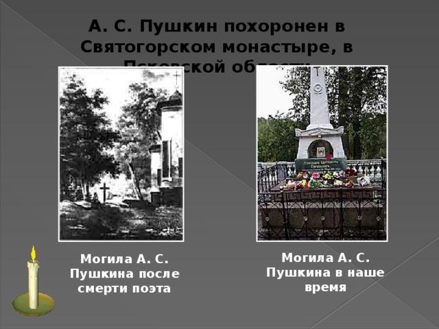 А. С. Пушкин похоронен в Святогорском монастыре, в Псковской области Могила А. С. Пушкина в наше время  Могила А. С. Пушкина после смерти поэта