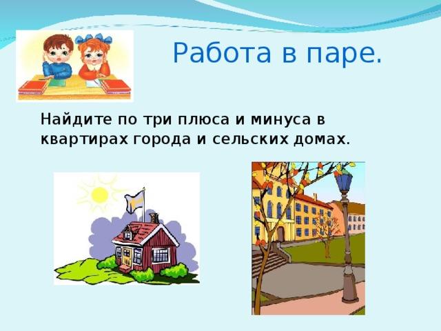 Работа в паре.  Найдите по три плюса и минуса в квартирах города и сельских домах.