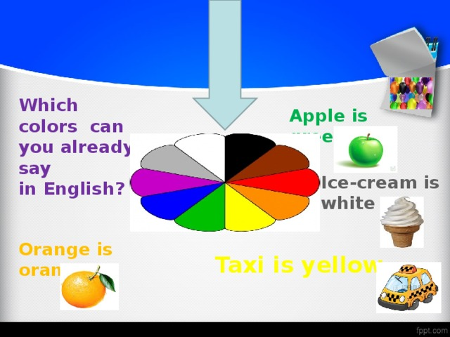 Which colors can you already say in English? Apple is green  Ice-cream is white Orange is orange   Taxi is yellow