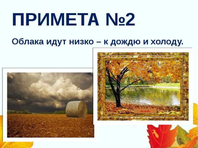 ПРИМЕТА №2 Облака идут низко – к дождю и холоду.