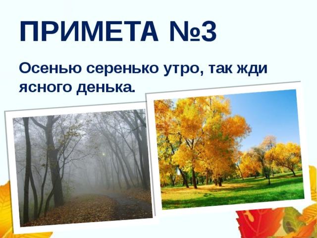 ПРИМЕТА №3 Осенью серенько утро, так жди ясного денька.